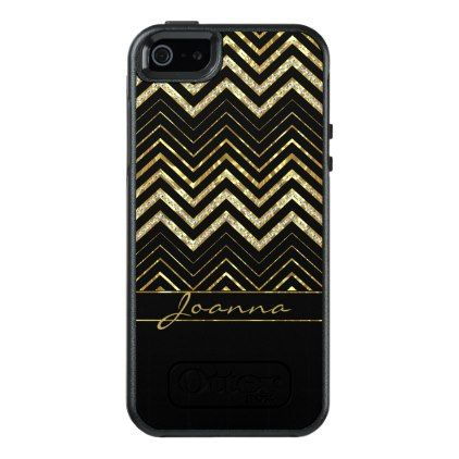 Cool Diamonds And Gold Chevron Pattern OtterBox iPhone 5/5s/SE Case - monogram gifts unique design style monogrammed diy cyo customize