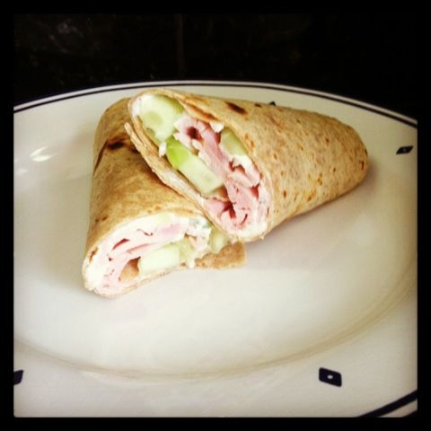 Turkey, cream cheese, and cucumber wrap for JUST 112 calories!  So easy, filling, and satisfying!