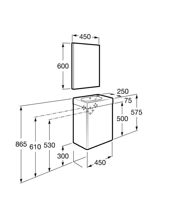 Pack con espejo (mueble base, lavabo y espejo) | Mini | Soluciones lavabo y mueble | Colecciones | Roca