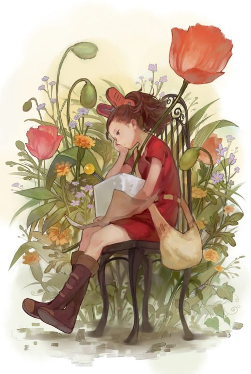 """Arrietty the Borrower (as depicted by Studio Ghibli) — since reading the book series, P. wants to turn our fairy garden into a """"Borrower garden"""""""