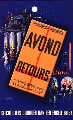 Affiche avondretours, 1940 | Joop Geesink (Van Sabben Poster Auctions)