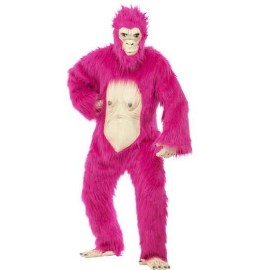 Neon roze gorilla pak voor volwassenen. Compleet pluche gorilla pak in de kleur neon roze. Bodysuit met latex masker, handen en voeten.