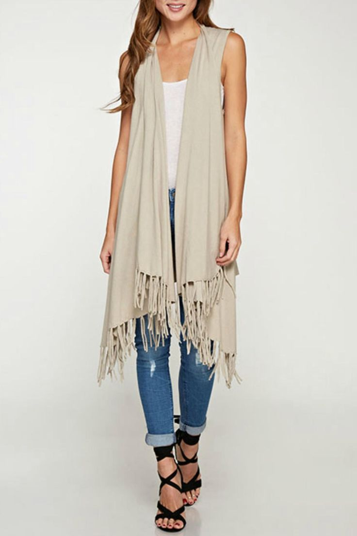 Champagne Sleeveless long sweater vest with fringe detail. Great with a skinny jean cute tank and strappy shoe Long Fringe Vest by Lovestitch. Clothing - Tops California