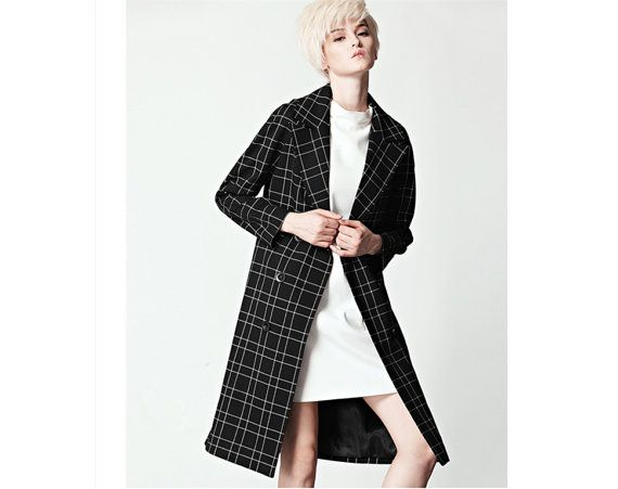 Plaid coat for women in black and white with double from BWG studios.
