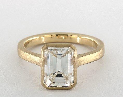 Bezel Set Emerald Cut In Brushed Gold Band