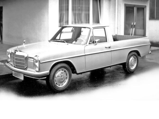 This would be awesome. Mercedes 240 with eurolights that is a pickup truck.