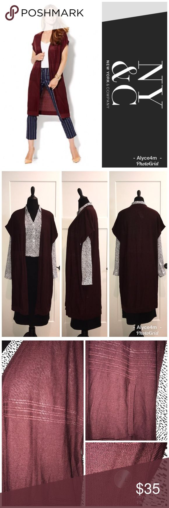 """🌺Duster Cardigan🌺 NY&Co Open Stitch Duster Cardigan  NWT Size XL Color Black Cherry (Burgundy)  🔴Mannequin's measurements  📌Chest 39"""" 📌Waist 33"""" 📌Hips 40 1/2""""  ❤️Pictured w/NY&Co Mercer Tunic & Theo Scuba Skirt also available in separate listings   💰Bundle Your Likes (even just one item) for a Private Discount💰 🌸reasonable offers accepted🌸  🐾pet friendlly home🐾 🚫no trades🚫 New York & Company Sweaters Cardigans"""