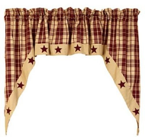 "Country Primitive Burgundy Farmhouse Star Swags 36"" Rustic Lodge Cabin Curtain #RusticPrimitive"