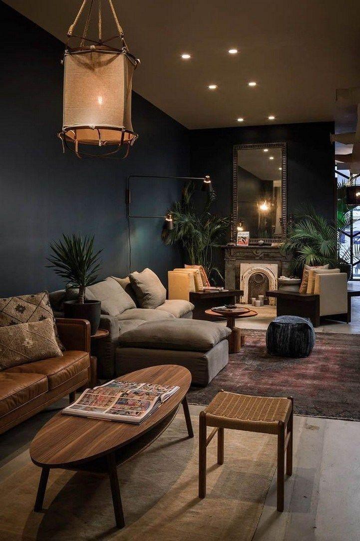Dusty Grey Floors Pulled Of Dark Walls B C Of High Ceiling 60 Modern Bohemian Livi Modern Bohemian Living Room Dark Living Rooms Interior Design Living Room