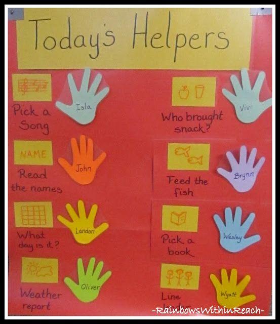 Helping hands .... Preschool Attendance Job Chart