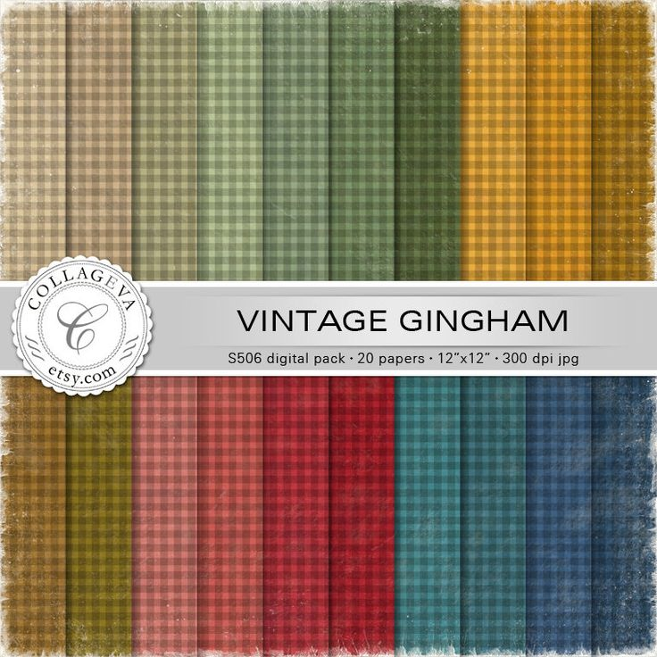 """Vintage Gingham Digital Paper Pack, 20 printable sheets 12""""x12"""" Textured Plaid pattern, Autumn colors, Distressed Grunge Scrapbooking (S506) by collageva on Etsy"""