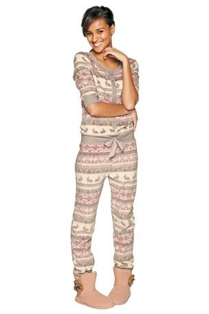 Long Sleeve Fleece Fairisle Pattern All-In-One