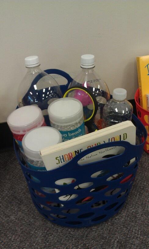 Sensory Box - discovery bottles, water beads, book