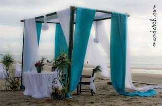 teal beach wedding