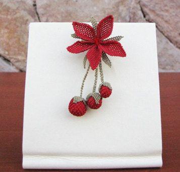 "Authentic Anatolian Needle Lace Pure Silk ""Portakal Çiçeği"" Brooch"