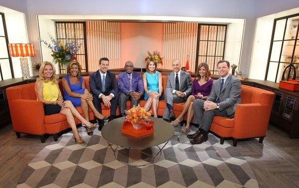 Today Show cast on orange sofa on new set September 2013 See more on the blog www.WindowDesignsEtc.com