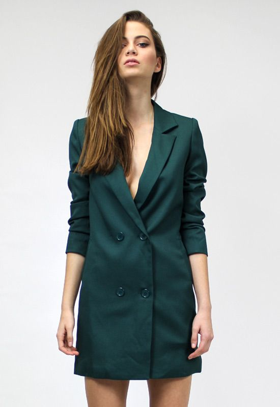 Jordan Tuxedo Dress - MOSS GREEN - Dresses - Lioness Fashion