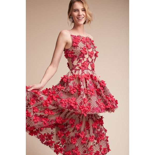 Anthropologie Cece Wedding Guest Dress ($995) ❤ liked on Polyvore featuring dresses, a line dress, tiered cocktail dress, red evening dresses, red flower dress and tiered dresses