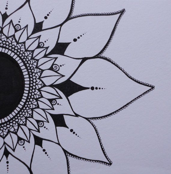 Mendhi Sunflower Black & White Ink Original by melaniehazen, $35.00