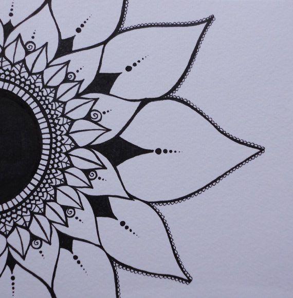 Mendhi Sunflower Black & White Ink Original by melaniehazen, $35.00