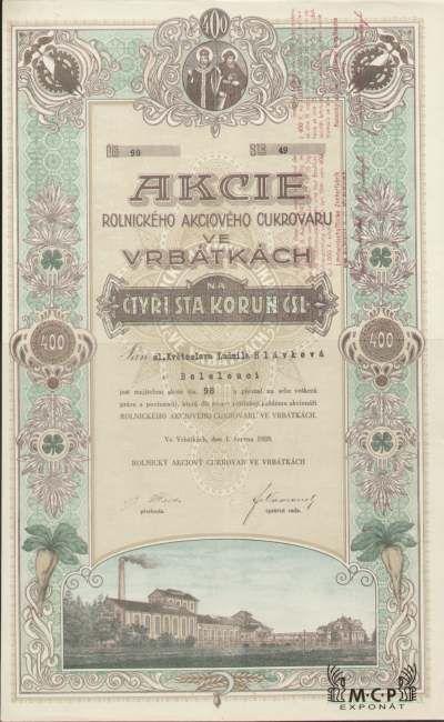 A1177 / Muzeum cennych papiru / Rolnický akciový cukrovar ve Vrbátkách akcie na jméno (Namensaktie) 400 Kč, Vrbátky 1.6.1928 / AZP3CZ148