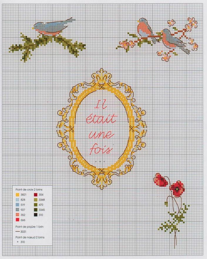 one upon a time, french, red ridding hood, cross stitch
