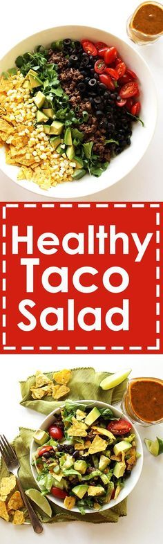 Healthy Taco Salad - Shredded romaine lettuce topped with all your favorite taco fixings with an easy salsa lime vinaigrette! We love this recipe in the summer! Gluten Free.