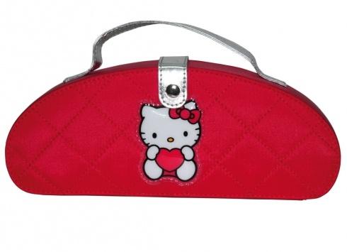 HELLO KITTY ROSSA LUNOTTO COSMETICI  Trousse semirigida a forma di mezza luna in tessuto trapuntato rosso con immagine di Hello Kitty - chiusura a bottone-contiene ombretti,fard,gloss labbra,pennelli per il trucco e specchietto