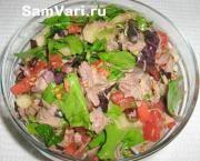 Салат из говядины и помидоров с маслом