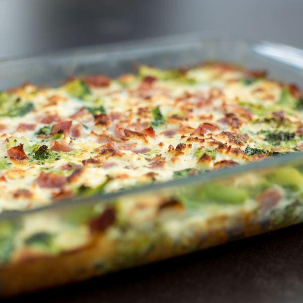 Gratin de brocolis au fromage et jambon