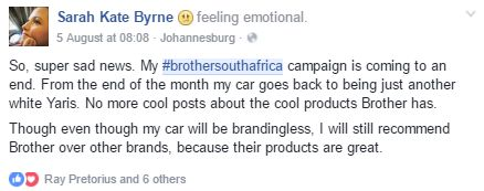 Screenshot from one of our #BrotherSouthAfrica influencers. #InfluencerMarketing #WordOfMouthAdvertising #theSALT