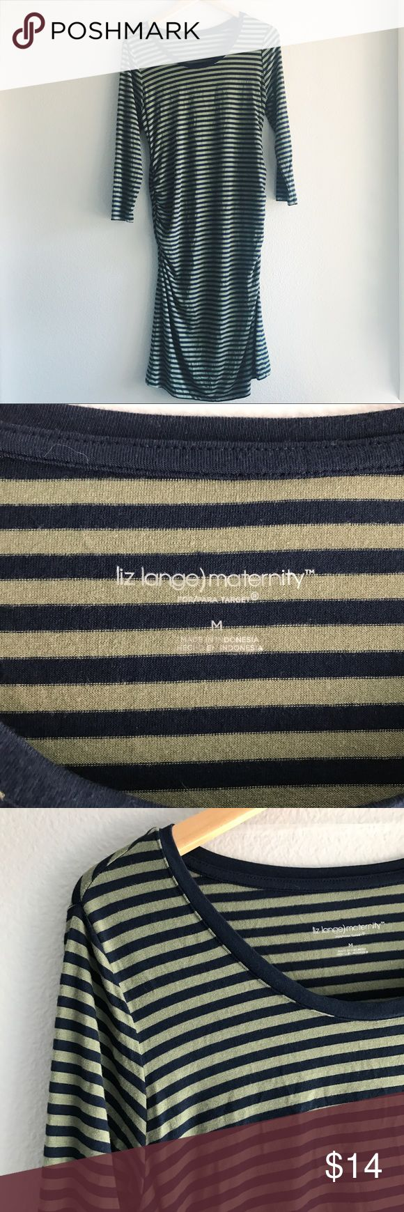 Liz Lange for Target • Striped Maternity Dress Liz Lange Maternity for Target green and navy striped Midi dress with ruching along the sides. Fitted. 3/4 sleeves. Excellent condition- like new. 0831gw60 Liz Lange for Target Dresses Midi
