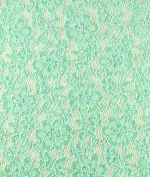 Mint Green Floral Stretch Lace Fabric