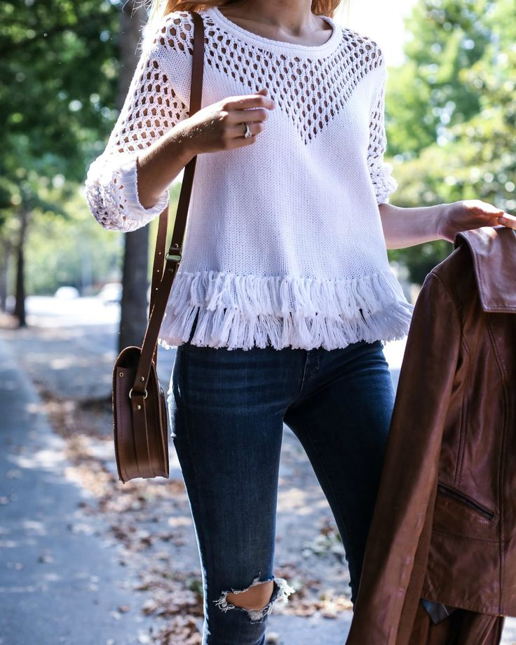 Fringe Sweater and Ripped Jeans in Napa - MEMORANDUM, formerly The Classy…