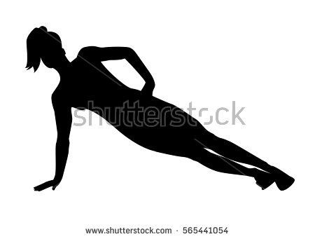 Silhouette of a woman doing side plank