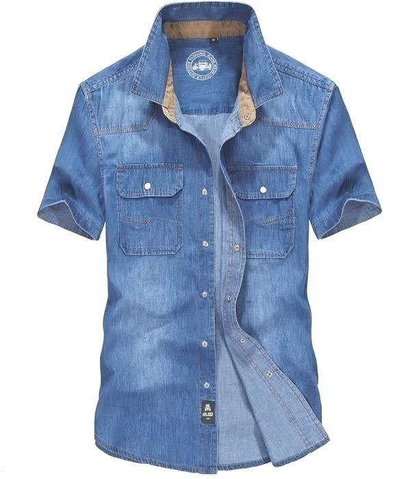 S-3XL Short Sleeved Cotton Blue Mens Work Shirts Denim Men's Jeans Relaxed  #MansShirtsJeans #BaggyLoose