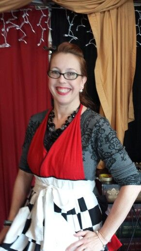 Trisha with Trisha Trixie Designs (fb page) will help you with all your great stylish aprons great designs great concept check it out at www.trishatrixie.com