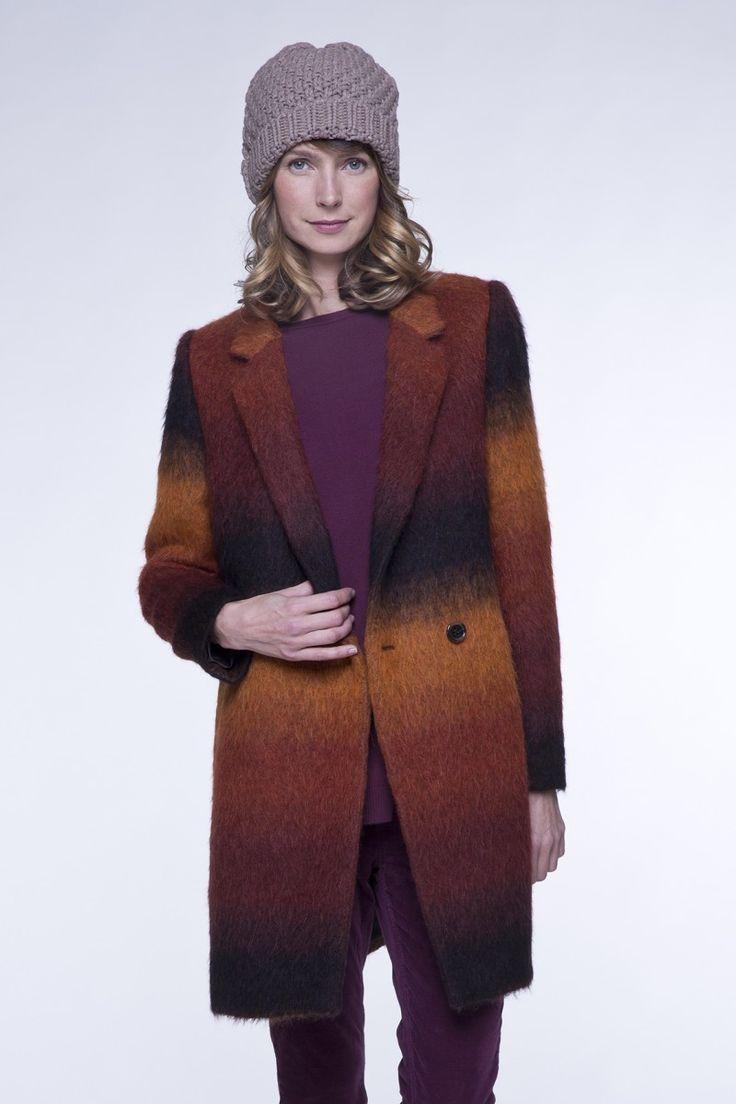 ACAT : Le #manteau #femme #orange et #marron en tissu poilu en #laine et #alpaga !