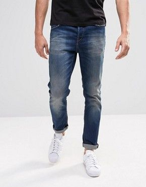 Only & Sons – Figurbetonte Jeans in dunkler Waschung