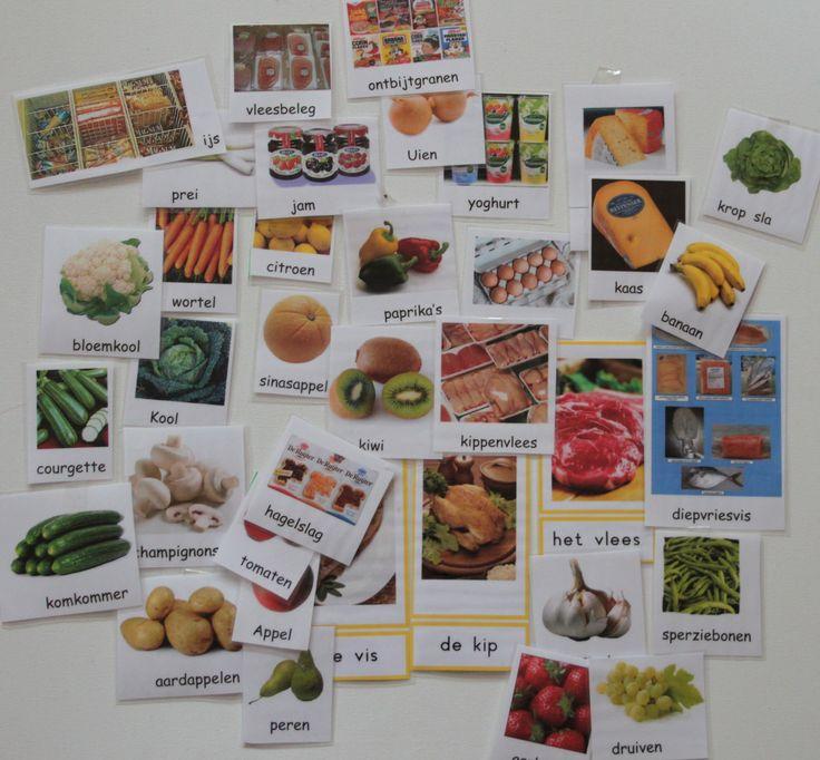 Woordkaarten om in de winkel op te hangen maar ook gebruiken om spelletjes mee te doen. Ik ga naar de supermarkt en neem mee: plaatjes om visueel te ondersteunen, oef van auditief geheugen.