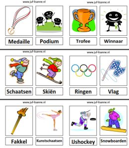 www.juf-lisanne.nl Woordkaarten Olympische Spelen.