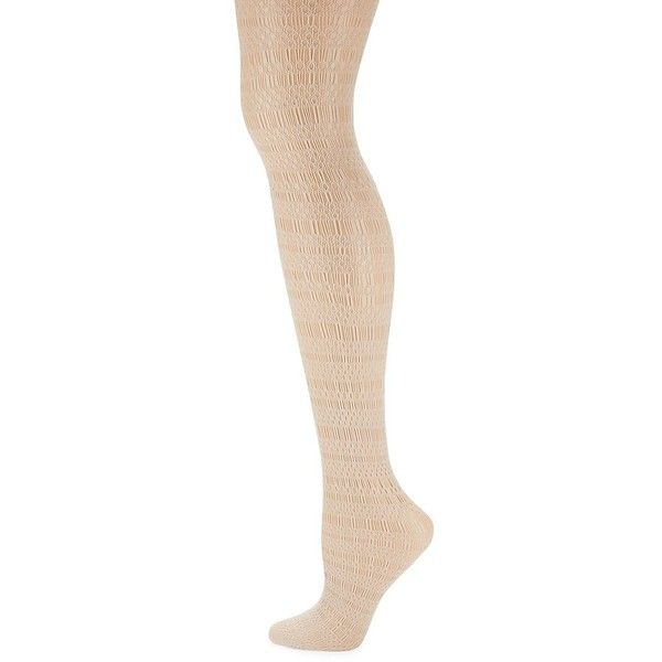 DKNY Women's Geometric Net Stockings (4.33 CHF) ❤ liked on Polyvore featuring intimates, hosiery, tights, beige, beige tights, net stockings, dkny hosiery, dkny tights and net tights