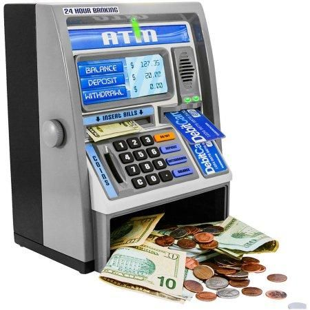 Kids Pink Educational Learning Developmental Counting ATM Machine Real Money Savings Bank w ATM Card