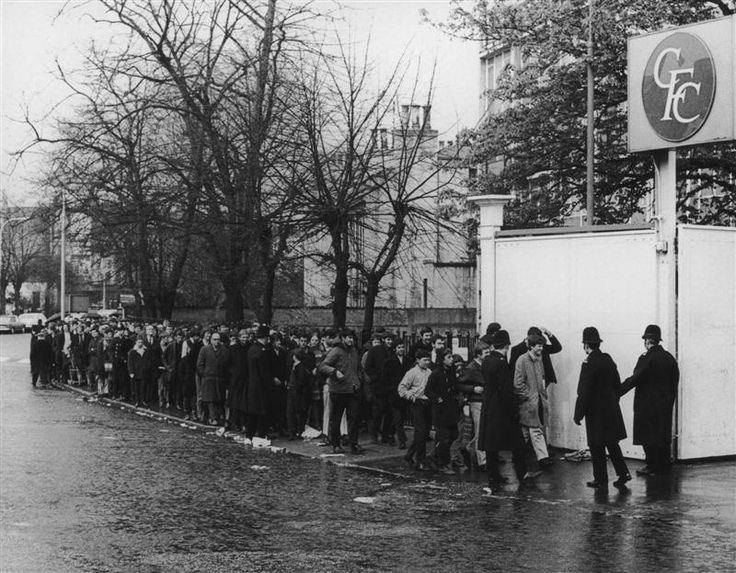 25 April 1970: Chelsea fans queue for tickets to the FA Cup final replay between Chelsea and Leeds United, outside their club's Stamford Bridge ground...