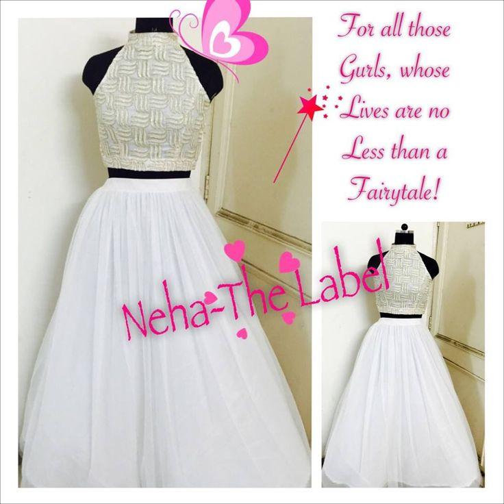 Glitter White Top with Shimmer Flare net Skirt..
