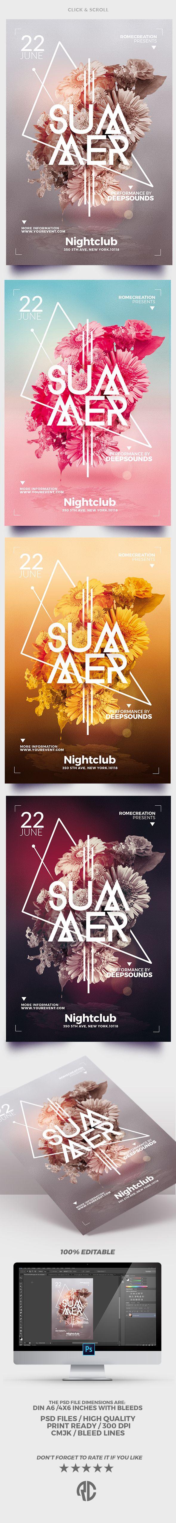 Poster design ideas - Minimalist Summer Flyer Templates 4 Versions Creative Design Very Easy To Edit
