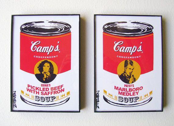 Absolutely Fabulous Edina and Patsy Framed Custom Pop Art Soup by Zteven on Etsy, $22.00