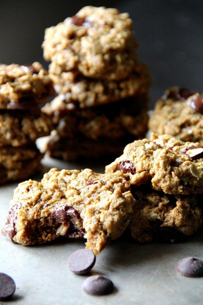 Flourless Peanut Butter Oat Cookies with Dark Chocolate and Sea Salt