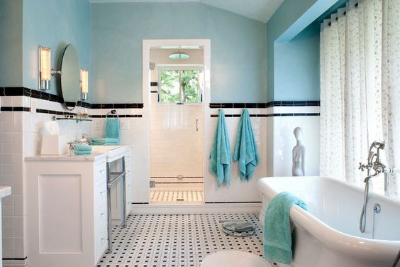 Bathroom With Art Deco Bathroom Furniture And Freestanding Bathtub In United States