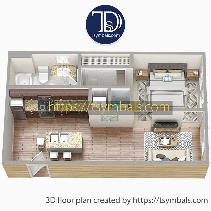 Modern One Bedroom 3d Floor Plans Tsymbals Design Floor Plans Sims House Design Bedroom Floor Plans